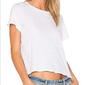 Sheer white top with frayed hems!